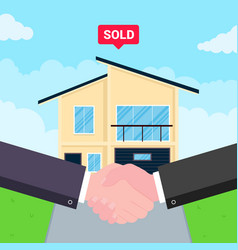 Buying new house on sale two hands shaking big vector