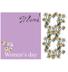 card women day flowers vector image