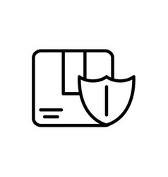 cardboard box shield delivery icon thick line vector image
