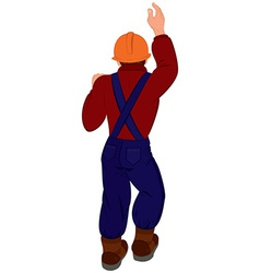 Cartoon man in hard hat back view vector