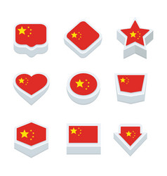 china flags icons and button set nine styles vector image vector image