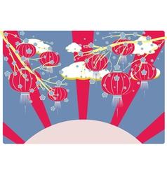 Chinese lantern with sakura branch6 vector
