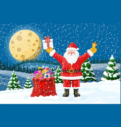 Christmas background santa claus with bag gifts vector