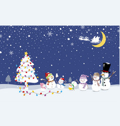 christmas card design of snowman family vector image