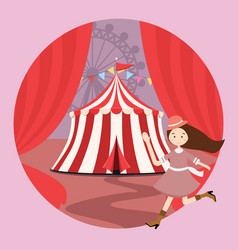 circus tent amusement park kid girls children open vector image