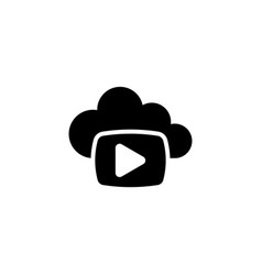 cloud media play flat icon vector image