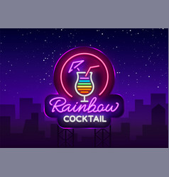 Cocktail logo in neon style rainbow cocktail vector