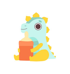 Cute little dino with milk bottle adorable baby vector