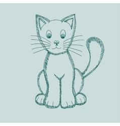 Cute Pseudo-pencil Drawing Cat vector