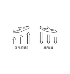 Departure and arrival thin line icon vector