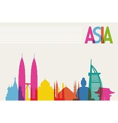 Diversity monuments of Asia famous landmark colors vector image