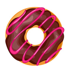 Donut with icing icon chocolate pastry doughnut vector