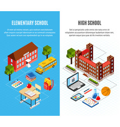 education isometric banners set vector image