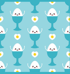Egg character and fried heart-shaped eggs pattern vector