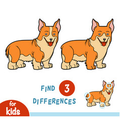 Find differences education game welsh corgi vector