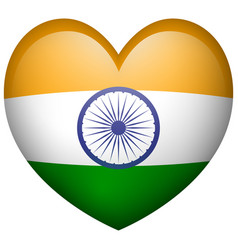 Flag of india in heart shape icon vector