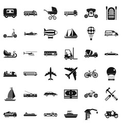 Flying transport icons set simple style vector
