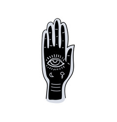 fortune telling hand and along lines vector image