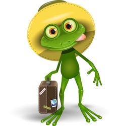 Frog with a Suitcase vector