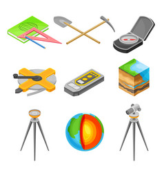 Geology measurement instruments with soil cross vector