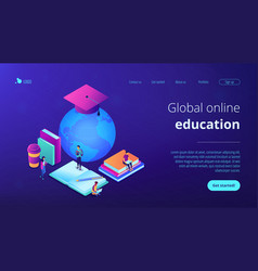 Global online education isometric 3d landing page vector