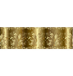 gold 3d baroque seamless border pattern vector image
