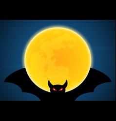 halloween flying bat and moon vector image