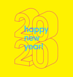 happy new 2020 year typographic minimal poster vector image