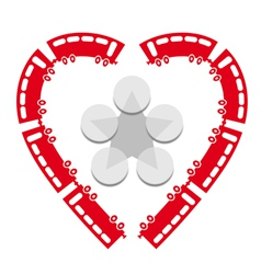 Heart shaped trains vector