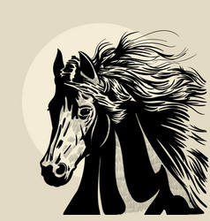 Horse head with a mane hand drawn vector