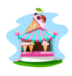 ice cream stall with tasty decor vector image