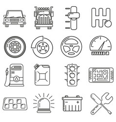 icons on the theme of a motorist in the style of vector image