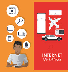 Internet of things concept connection elements vector