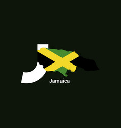 Jamaica initial letter country with map and flag vector