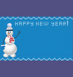 Knit new year template with snowman in blue and vector