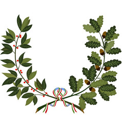 laurel and oak branches with ribbon vector image