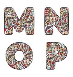 Letters m n o p set colorful alphabet vector