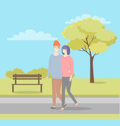 man and woman walking in summer or spring park vector image