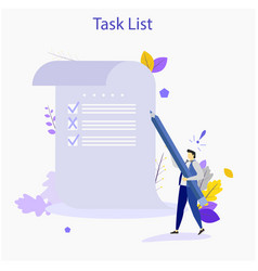 Man with pencil marking completed tasks on to-do vector