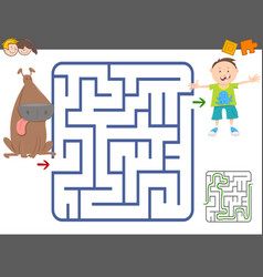 Maze game with boy and dog vector