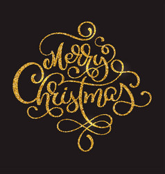 merry christmas golden text on dark brown vector image