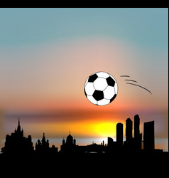 moscow skyline with football ball vector image