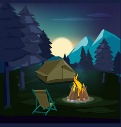night campfire wooden landscape with tent and vector image