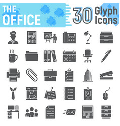 office glyph icon set business symbols collection vector image