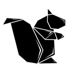 Origami squirrel icon simple black style vector