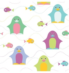 Penguin seamless pattern vector