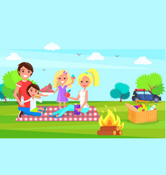 Picnic family sitting on cloth eating watermelon vector