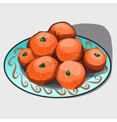 Pile of tangerines on a plate vector image