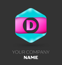 realistic letter d logo in colorful hexagonal vector image