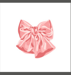 Realistic pink bow isolated on transparent vector